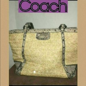 Never used Coach straw and snakes skin tote